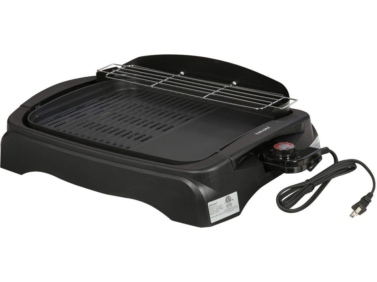 Tayama TG-863XL Non-Stick Electric Grill Ribbed and Solid Surface, Large, Black