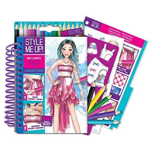 Style Me Up - Fashion Designer Art and Craft Kit for Children, Set of Coloring Book with Color Pencils - SMU-1475 -