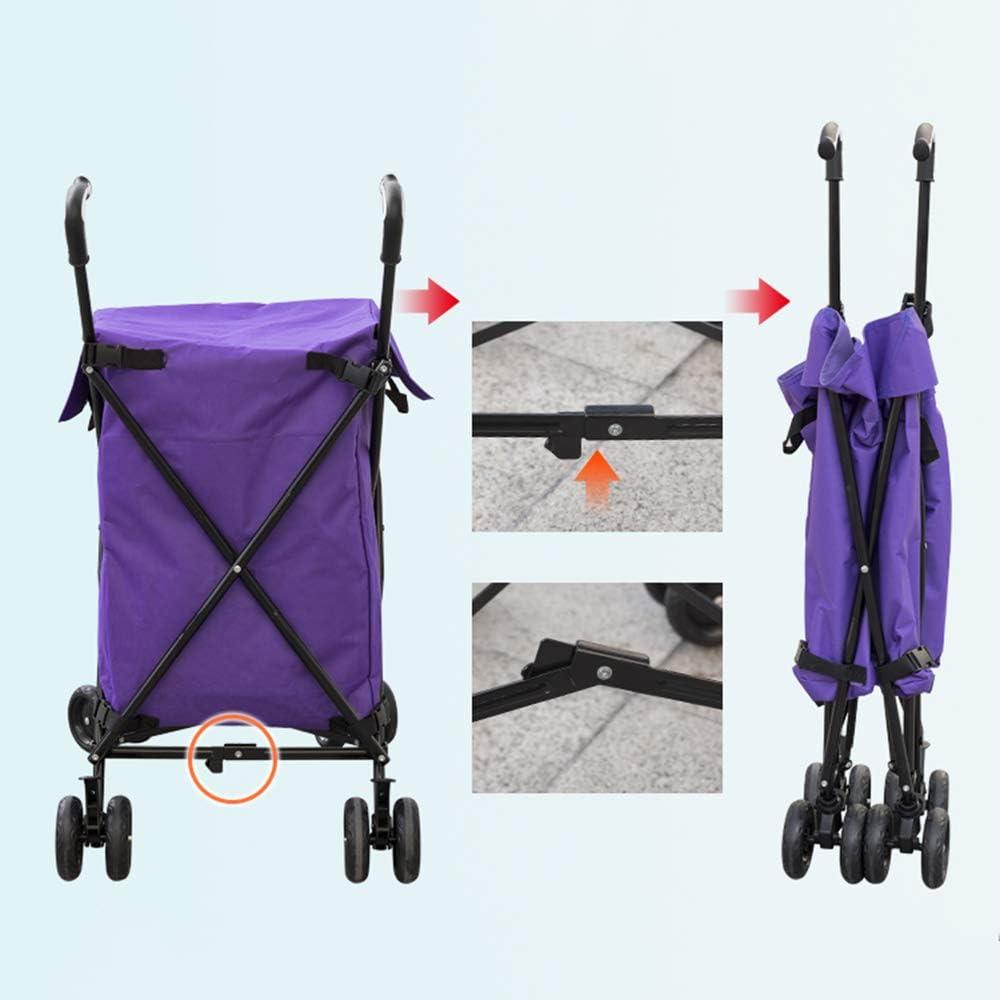 Vegetal tiendas de moda bolso de la carretilla plegable de cuatro ruedas de carro de compras,Negro