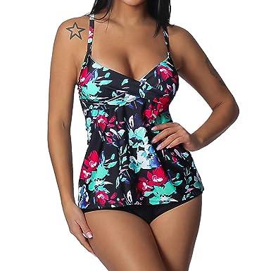 1aa3a277abaf6 Womens Sling Tankini,Ladies Two Piece Floral Print with Bottom Bathing Suit Swimsuit  Swimwear Bikini