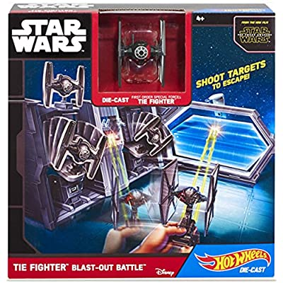 Hot Wheels Star Wars TIE Fighter Blast-Out Battle Play Set: Toys & Games