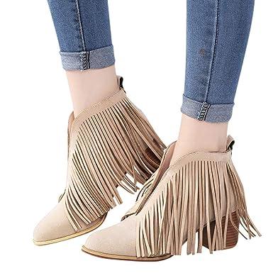 e5f6a5494c OSYARD Damen Quaste Ankle Stiefeletten V-Öffnung Fransen Wildleder Low-Top  Boots Frauen Schuhe