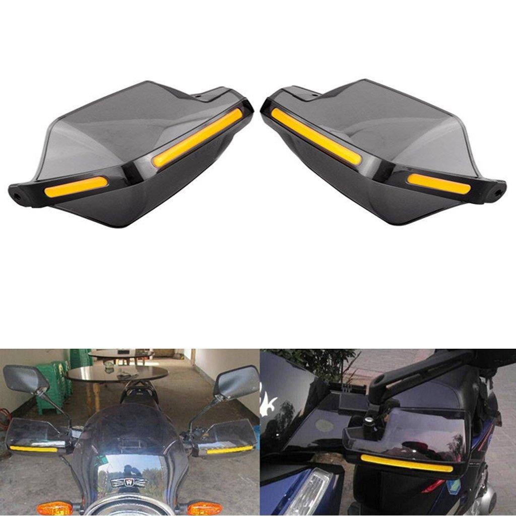 Hanperal 1Pair Motorcycle Hand Guards 7/8' Handlebar Handguard Handle Protector Bike Brush Wind Guard (Smoke-Transparent)