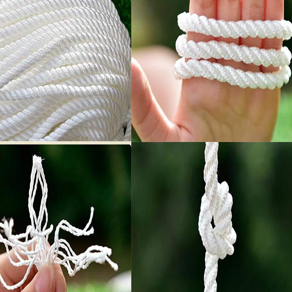 50 Meter 6 mm Seil F/ür Sonnensegel Fahnenmast Seil Polyesterseil Baumwollseil Baumwollseil Kordel Mit Hohlstrick Absperrseil Hydrophob Wei/ß