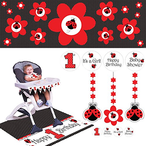 Cedar Crate Market Ladybug Fancy Party Supplies Pack: Includes High Chair Decorating Kit, Hanging Decorations Pennant Banner