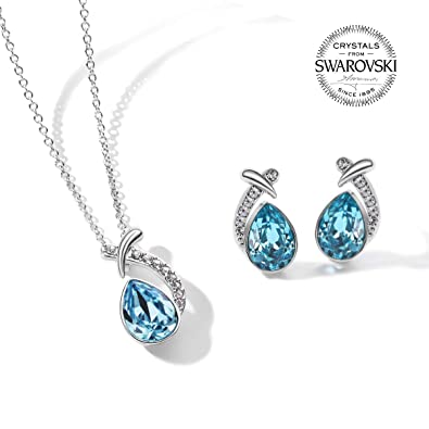 58959a3c8 Image Unavailable. Image not available for. Color: T400 Blue Waterdrop Made  with Swarovski Elements Crystal Pendant Necklace & Stud Earrings Jewelry  Sets ...