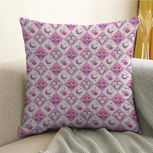 (Owls Bedding Soft Pillowcase Sleeping Owls in Diamond Pattern Half-Moon Stars Clouds Night Time Goodnight Art Hypoallergenic Pillowcase W18 x L18 Inch Pink Lavender)