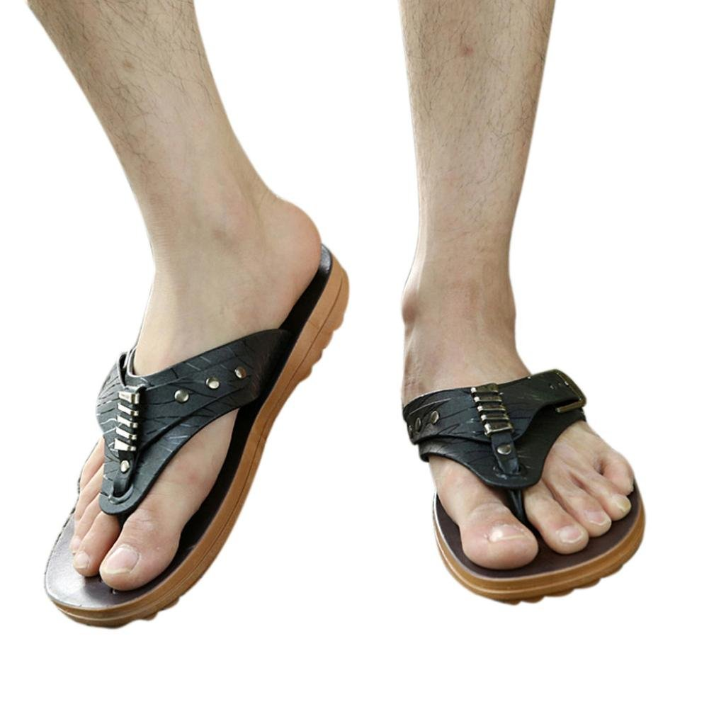 3868f4b810ad Amazon.com  Aurorax Mens Flip Flops Flat Sandals Casual Beach Shoes Leisure  Slipper for Indoor Outdoor US 7-9.5  Clothing