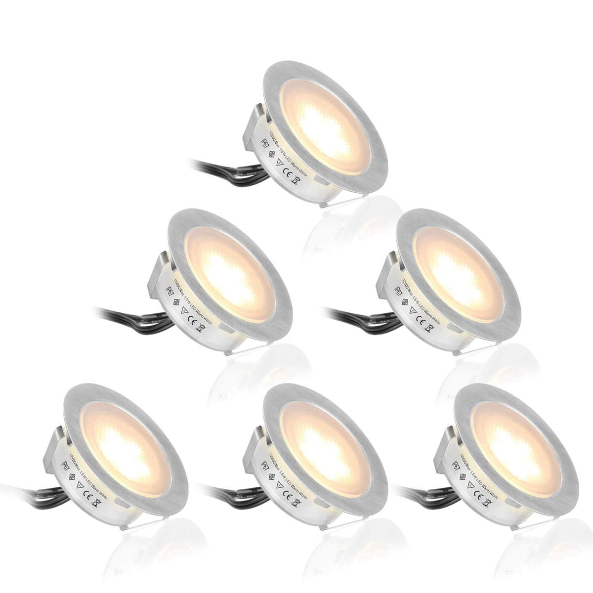 SMY 6 Pack(Upgrade Version) Recessed LED Deck Lights Kit φ55mm, in Ground Outdoor LED Landscape Lighting Waterproof IP67,12V Low Voltage for Garden,Yard Steps,Stair,Patio,Pool Deck,Kitchen Decoration by SMY