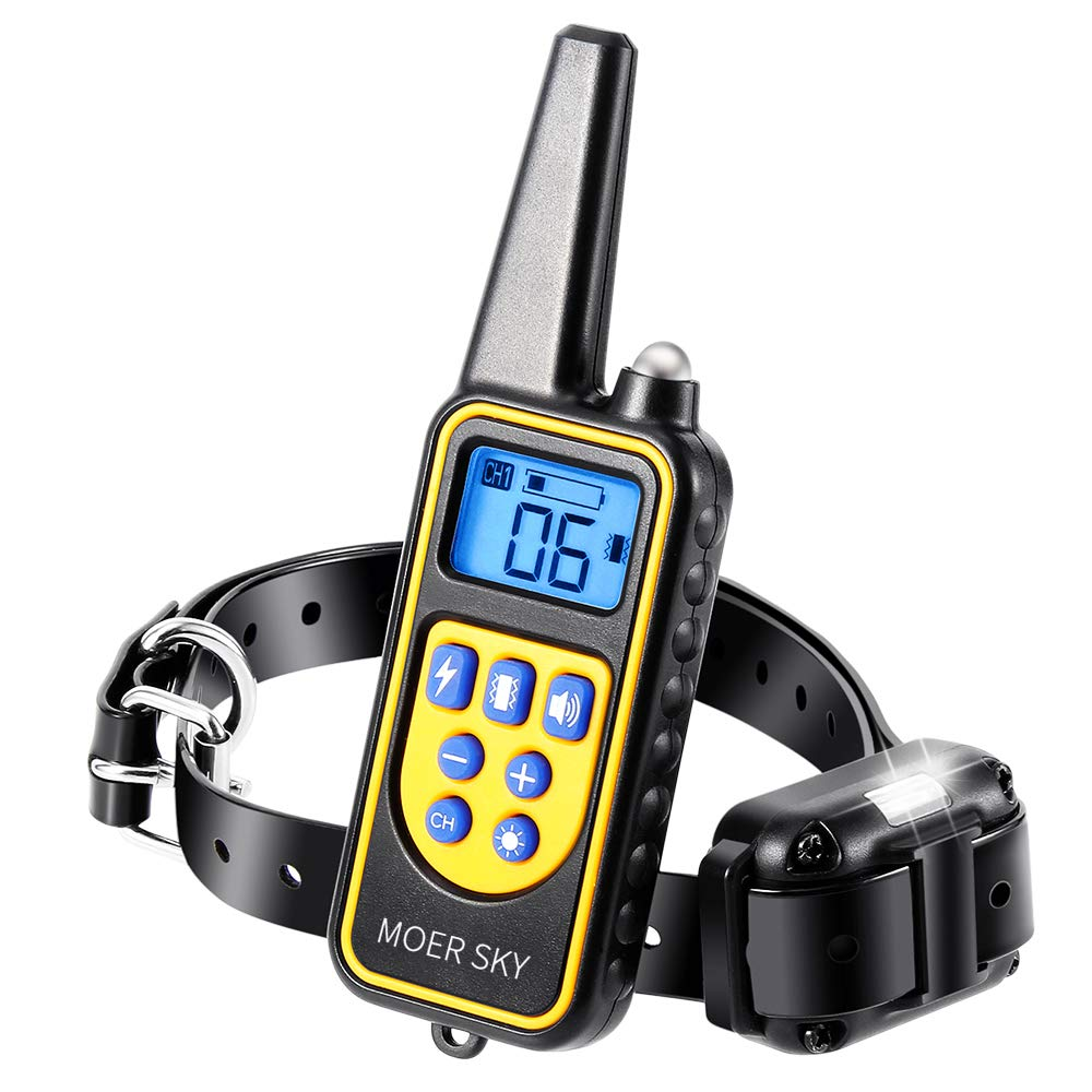 Dog Training Collar, Rechargeable Dog Shock Collar with Remote, Waterproof Training Collar with LED Light/Beep/Vibration/Shock for Small Medium Large Dogs by Moer Sky