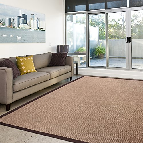 Casa pura® Amazonas 100% Natural Sisal Rug with Cotton Border | 4'x6' | Cork | Non Slip Latex Backing | 3 Sizes, 2 Colors