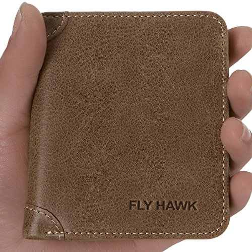 FlyHawk RFID Blocking Genuine Leather Wallets Mens Biford Mini&Slim Size Wallet (Mini Wallet-RFID Blocking, Khaki-Vertical)