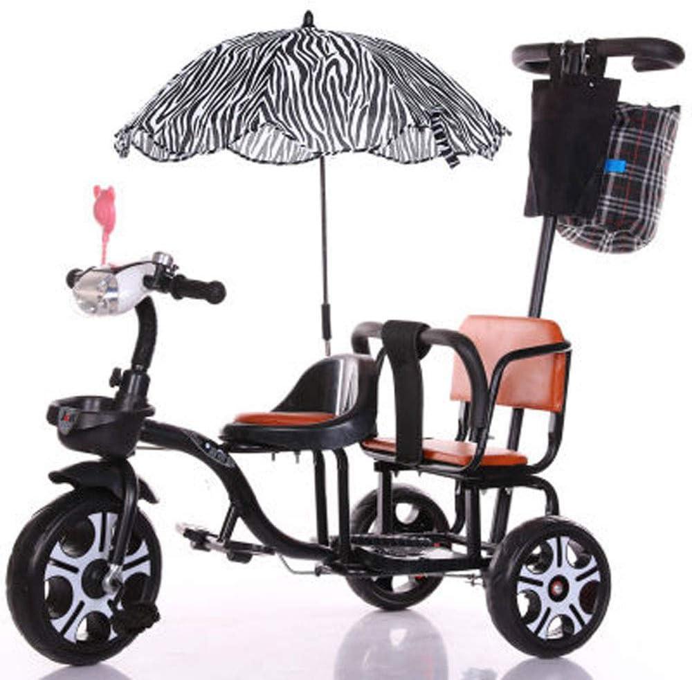 JHGK Triciclo Biplaza, Bicicleta Triciclo De Empuje A Dos Manos De Acero con Alto Contenido De Carbono Biplaza con Marco/Paraguas Trasero, Triciclo Ligero para Niños Tricycle,Negro