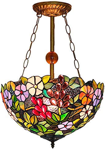 3 Lights Dome Pendant Light Tiffany Style Stained Glass Chandelier for Bedroom Foyer