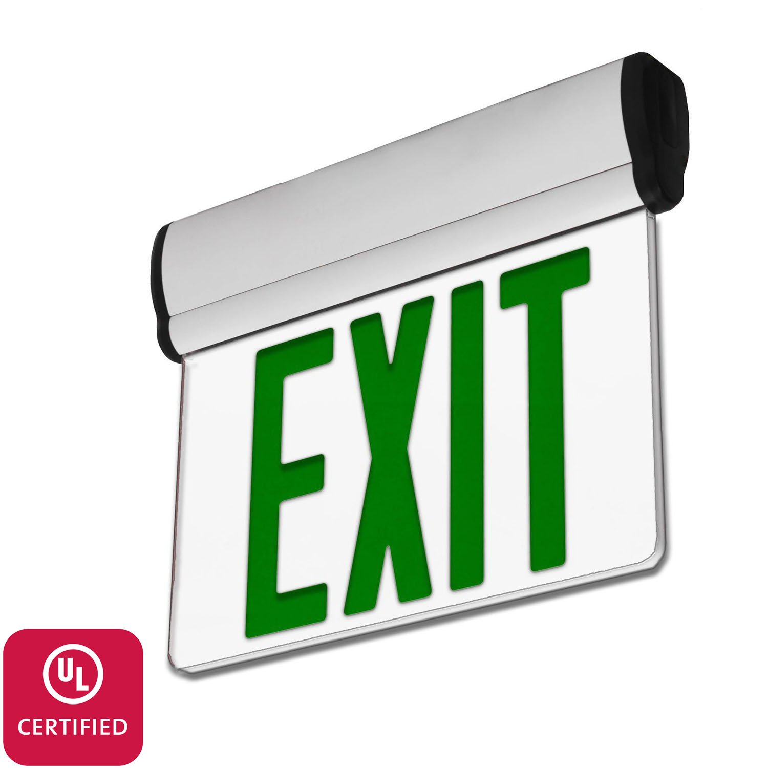 LFI Lights - UL Certified - Hardwired Edge Light Green LED Exit Sign - Rotating Panel - Battery Backup - ELRTG