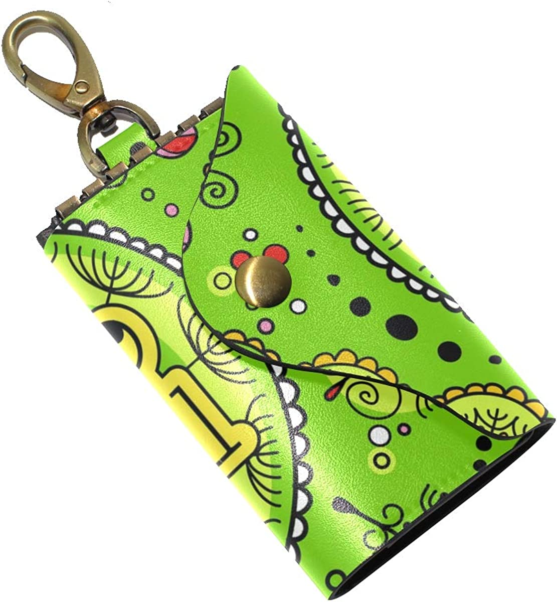 KEAKIA Green Floral Leather Key Case Wallets Tri-fold Key Holder Keychains with 6 Hooks 2 Slot Snap Closure for Men Women