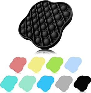 XMY Pop Bubble Sensory Toy [Food Grade Silicone] Pop Game Educational STEM Playing Board Stress Reliever Squeeze Sensory Toy for Kids Adults.(Lucky Clover Style-Black)