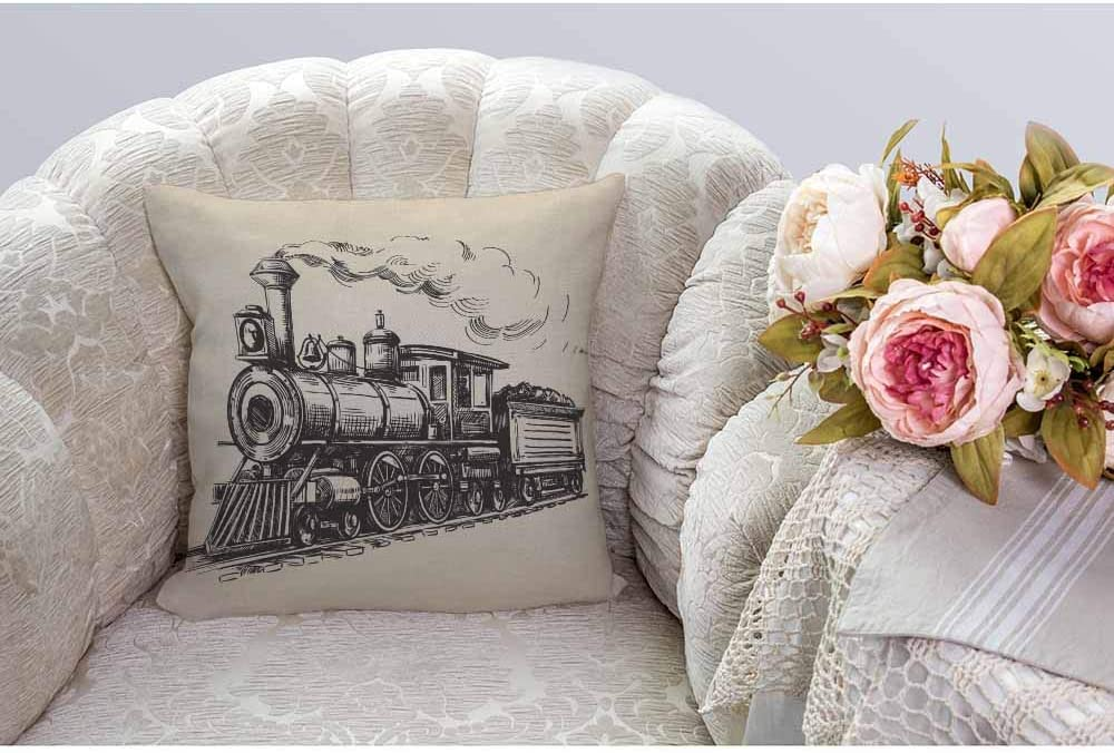 HGOD DESIGNS Train Cushion Cover,Vintage Train in Country Locomotive Wooden Wagons Rail Road with Smoke Throw Pillow Case Home Decorative Living Room Bedroom Sofa Chair 18X18 Inch Pillowcase 45X45cm