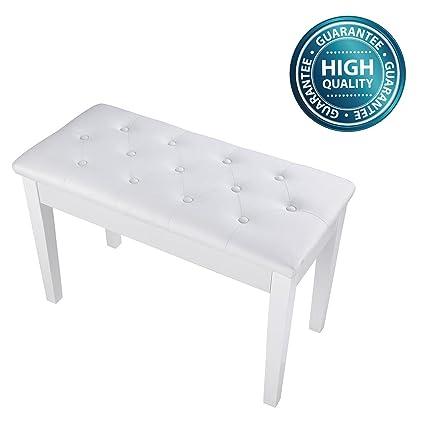 Strange Koval Inc Leather Duet Piano Bench Storage Stool 29 1 3 X 13 2 5 X 17 4 5 White Machost Co Dining Chair Design Ideas Machostcouk