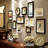 WUXK European-style living room solid wood photo wall American decorative wall creative combination photo frame wall photo wall background box, B