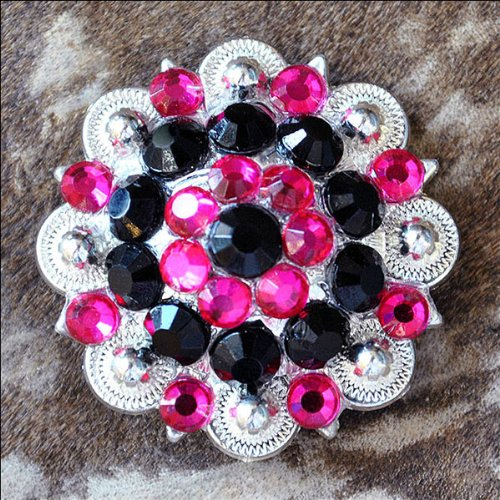 Pink Rhinestone Concho (SET OF 8 BLACK HOT PINK CRYSTAL 1-1/4in BERRY CONCHO RHINESTONE SADDLE)