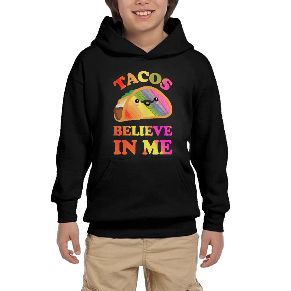 Youth Black Hoodie Tacos Believe In Me Hoody Pullover Sweatshirt Pocket Pullover For Girls Boys L by Hapli
