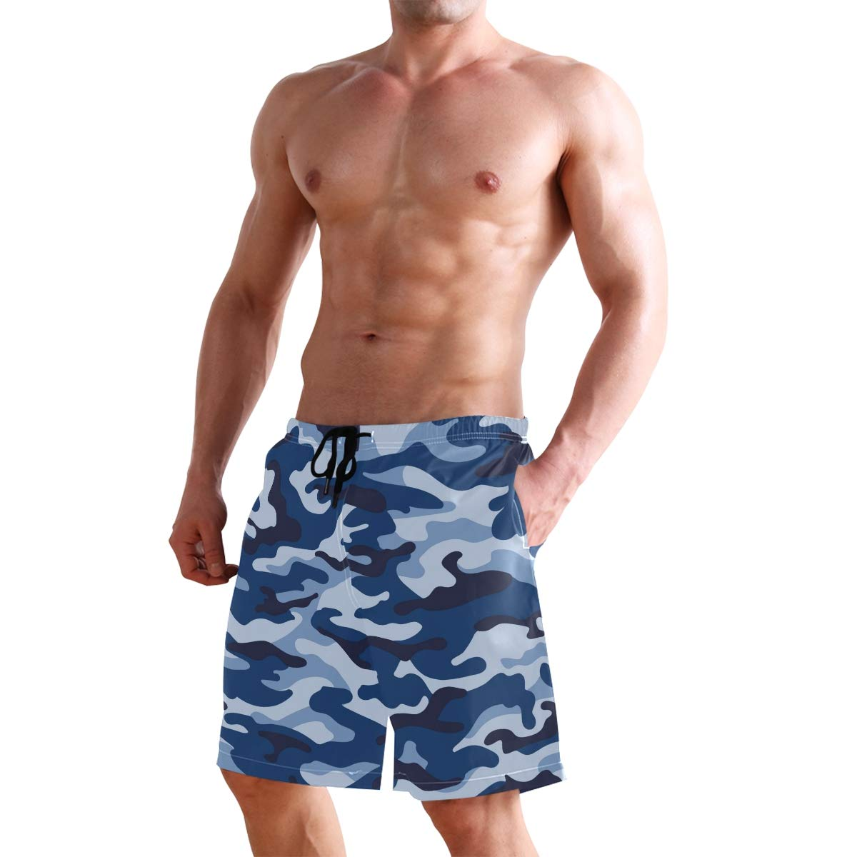 CENHOME Mens Swim Trunks Blue Navy Grey Camouflage Color Beach Board Shorts