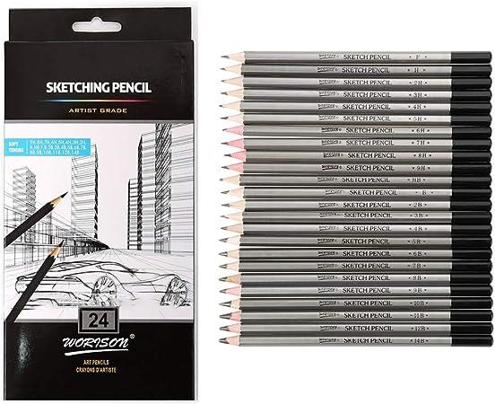 Crayon gris id/éal pour carnet de croquis Bo/îte m/étallique de protection Crayon 6B 5B 4B 3B 2B B HB F H 2H 3H 4H ARTEZA Crayon /à papier pour dessin profesionnel Lot de 12