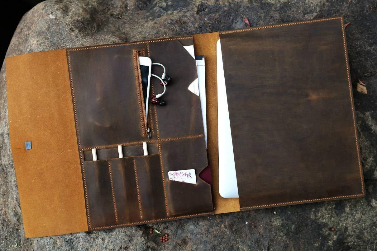 Handmade distressed leather macbook pro laptop portfolio//retro leather business travel organizer case MB05PDB