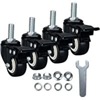 DYREOOE 2€ Casters, 1/2€-13x1€(Screw Diameter 1/2€, Screw Length 1€) Stem Caster Wheels, Locking Swivel Casters Set of 4, No Noise 4 Pack Casters with Brake, Heavy Duty Casters with PU Wheels