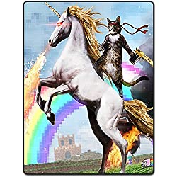 TSlook Colorful Art Cat Horse Pixel Rainbow Fire Home Welcome Door Mat Rug(32x18,L x W)