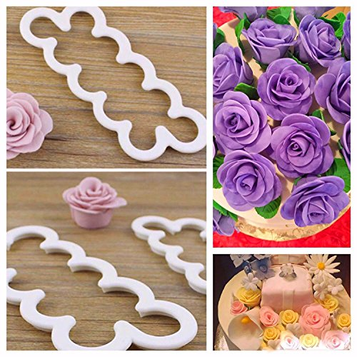 Sugar and Spice Kitchens Rose Fondant Cutters Edible Decorations PRO Cake Decorating Gum Paste Flowers Rose Kit Ever 3 Steps Cookie Cutters Supplies Set of - Cake Easy Decoration