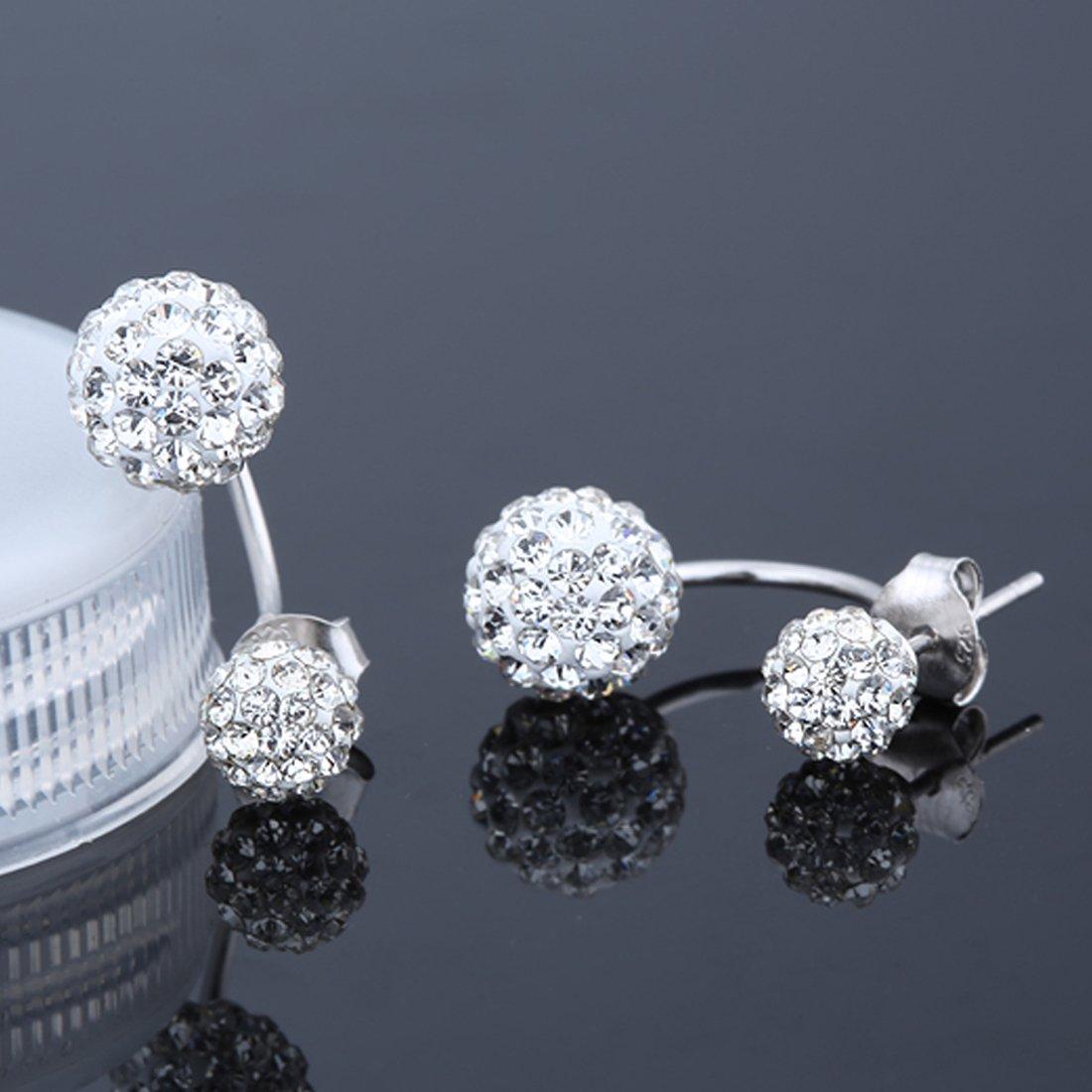 Womens 925 Sterling Silver Double Bead Stud Earrings