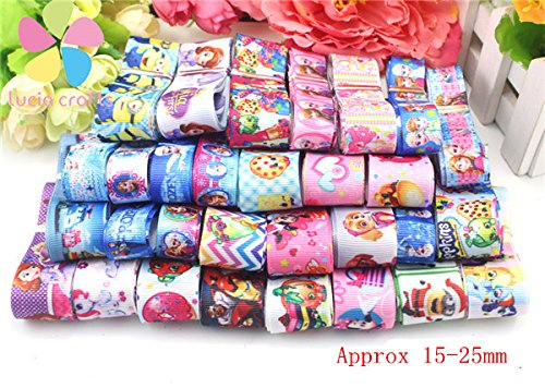 12y/lot 1y/style multicolor random assortment 15-25mm Grosgrain and Satin Ribbon (Mix 5 cartoon - Satin Grosgrain Ribbon