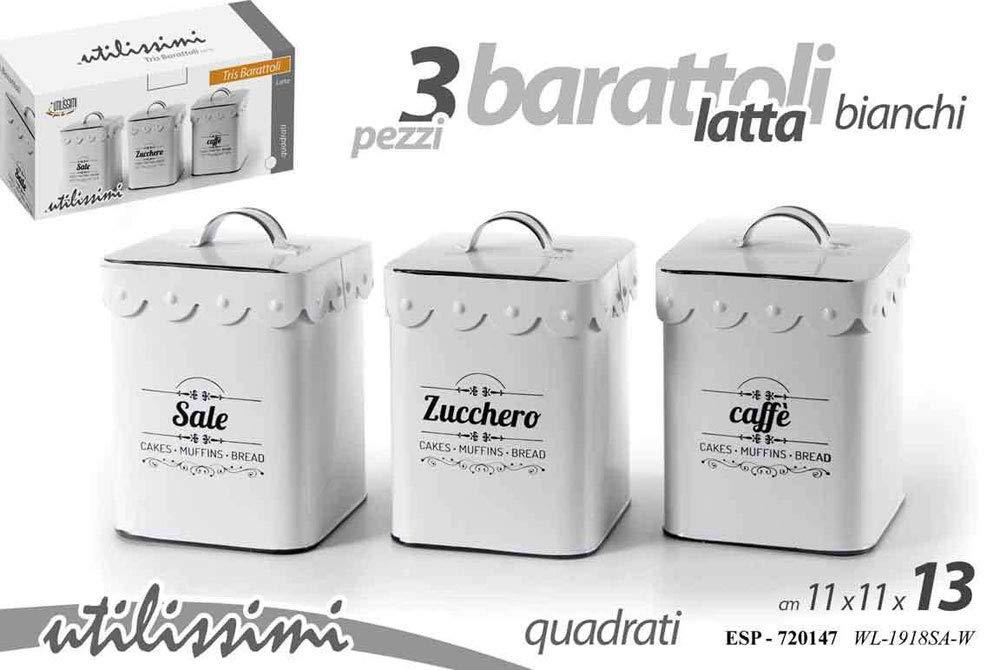 Vetrineinrete® Tris barattoli di Forma Quadrata per caffè Zucchero e Sale Barattolo in Latta 3 Pezzi Bianco con Coperchio D45 vetrine in rete