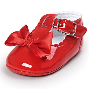 f437a3454f45a Lanhui Baby Bowknot Princess Anti-Slip Soft Sole Shoes Toddler Sneakers  Casual (Red, 0-6Months)