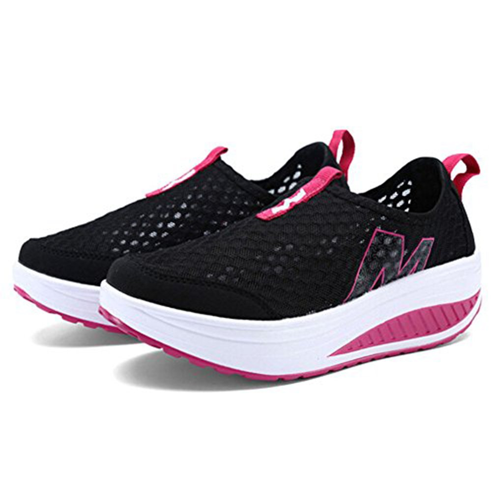 Padgene Womens Sneakers Mesh Slip On Wedges Platform Walking Shoes Lightweight Sports Tennis Shoes (8 B(M) US, Black)