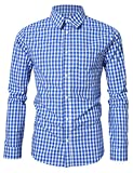 Clearlove Men's Casual Slim Fit Plaid Shirt Button Down Dress Shirts for German Bavarian Oktoberfest Blue L