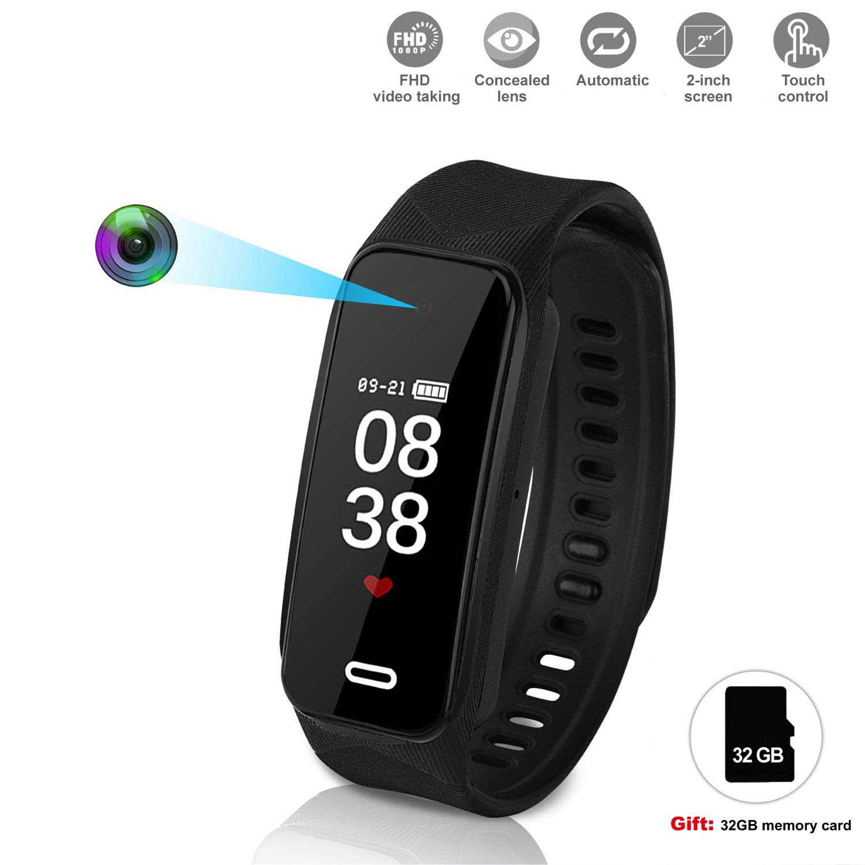 Hidden Camera Bracelet Camera HD 1920×1080P Wristband Watch Camera Spy Camera with Smart Sport Watch Motion Detection Superb Video Camera Built in 32GB (Black)