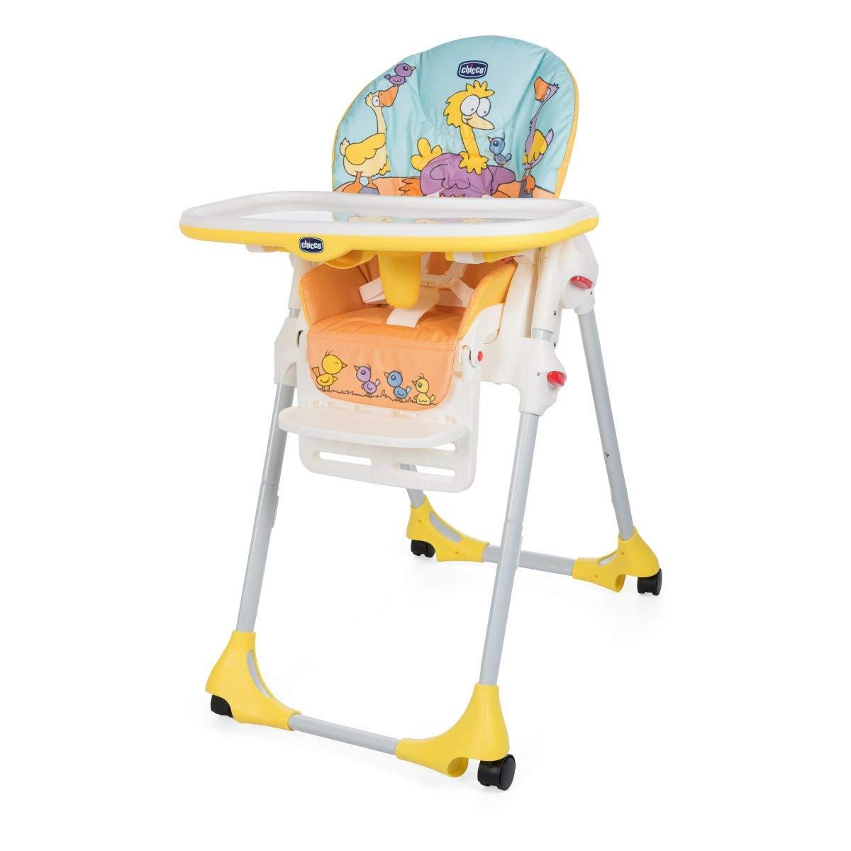 Chicco Polly Easy - Trona amplia, compacta y sencilla, 4 ruedas, para niños de 0 a 3 años, color amarillo (Birdland)