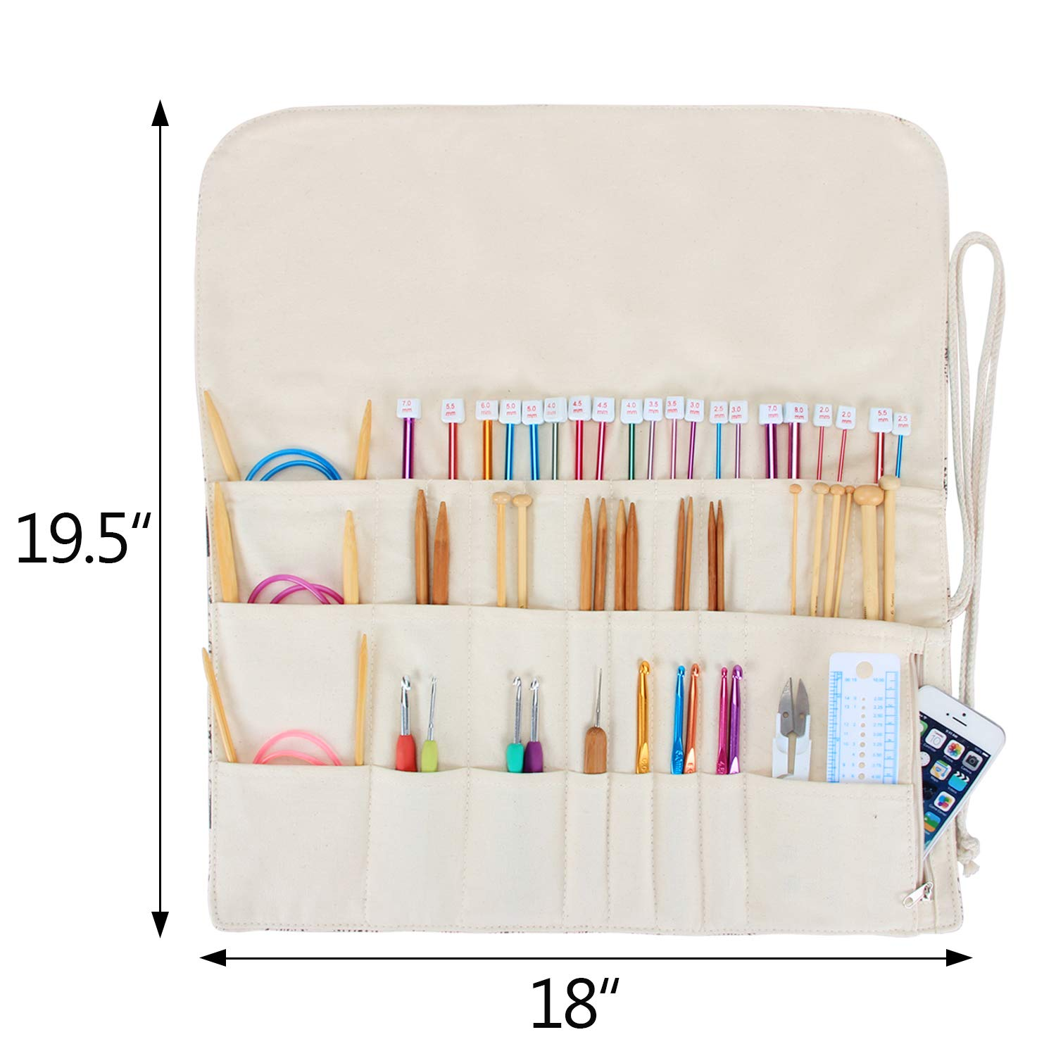 Teamoy Tunisian Crochet Hook Organizer Bag(up to 14 Inches), Cotton Canvas Roll Wrap for Afghan Crochet Hooks, Knitting Needles and Accessories, Tree by Teamoy (Image #9)