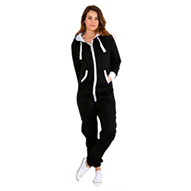 3683fef48cb4 New Women s All in One Plain Onesie Hooded Zip Up Jumpsuit Playsuit Size  S-5XL