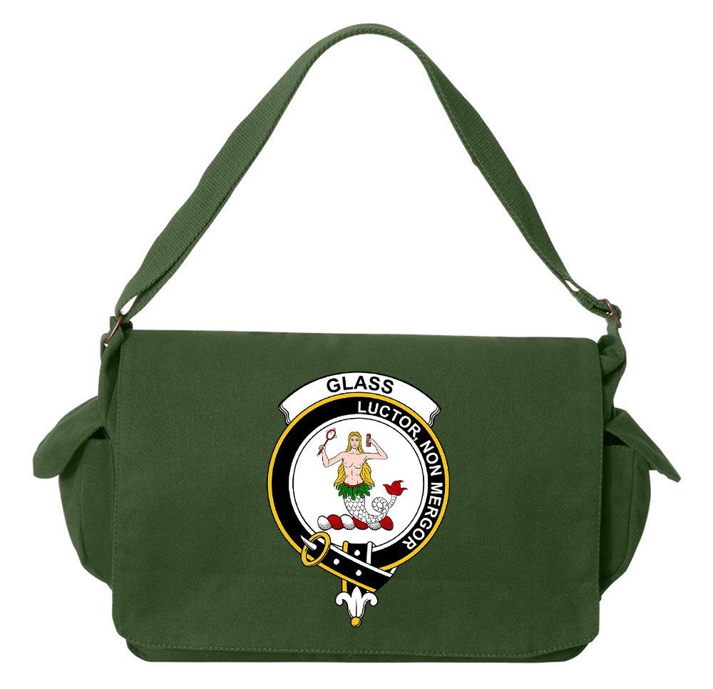Tenacitee Scottish Clan Crest Badge Glass Green Brushed Canvas Messenger Bag