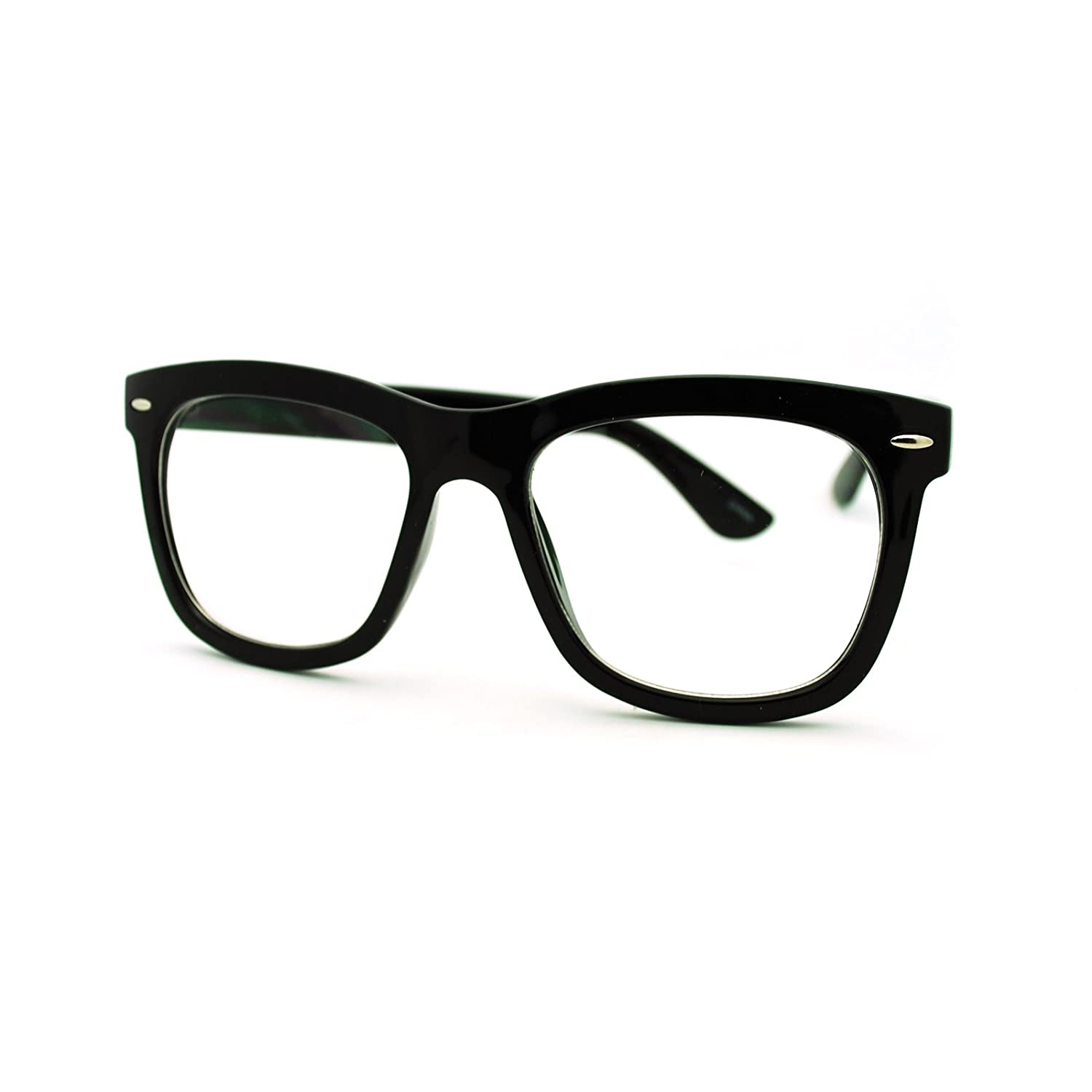 Amazon.com: Clear Lens Eyeglasses Oversized Thick Square Frame Nerdy ...
