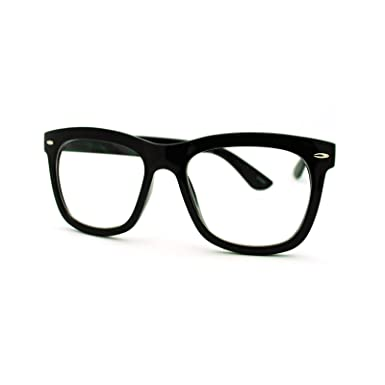 clear lens eyeglasses oversized thick square frame nerdy glasses black