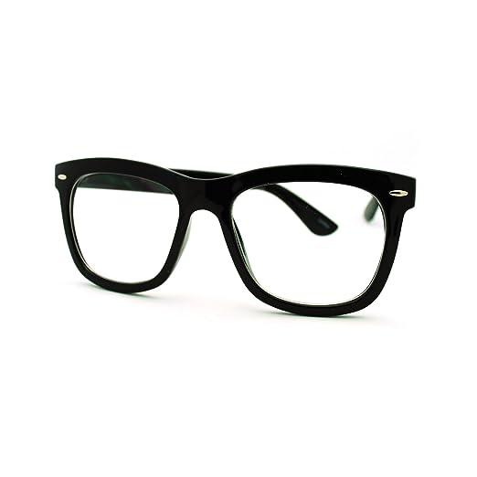 Amazon.com: Clear Lens Eyeglasses Oversized Thick Square Frame Nerdy ...