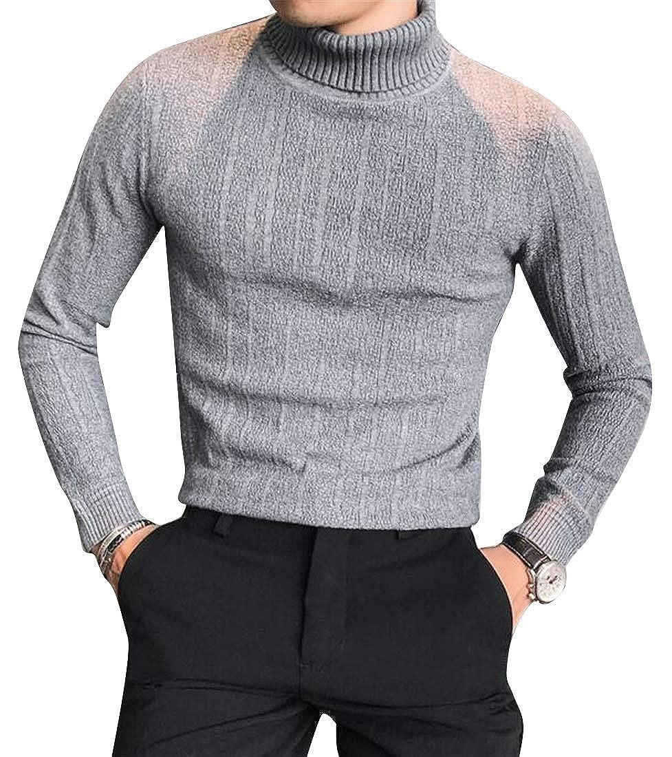 ARTFFEL Mens Solid Slim Ruched Stretchy Knit Turtleneck Pullover Sweater Jumper