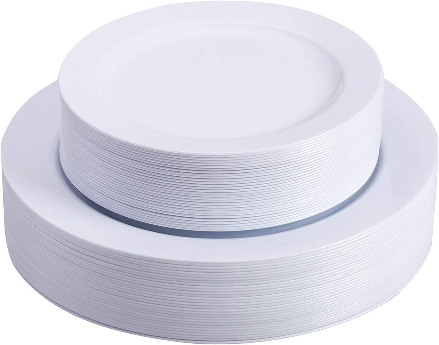 Select Settings 60 pc. Disposable Plastic Plates 30 Dinner Plates & 30 salad Plates Disposable Plate Combo Sets (White Round Plates)