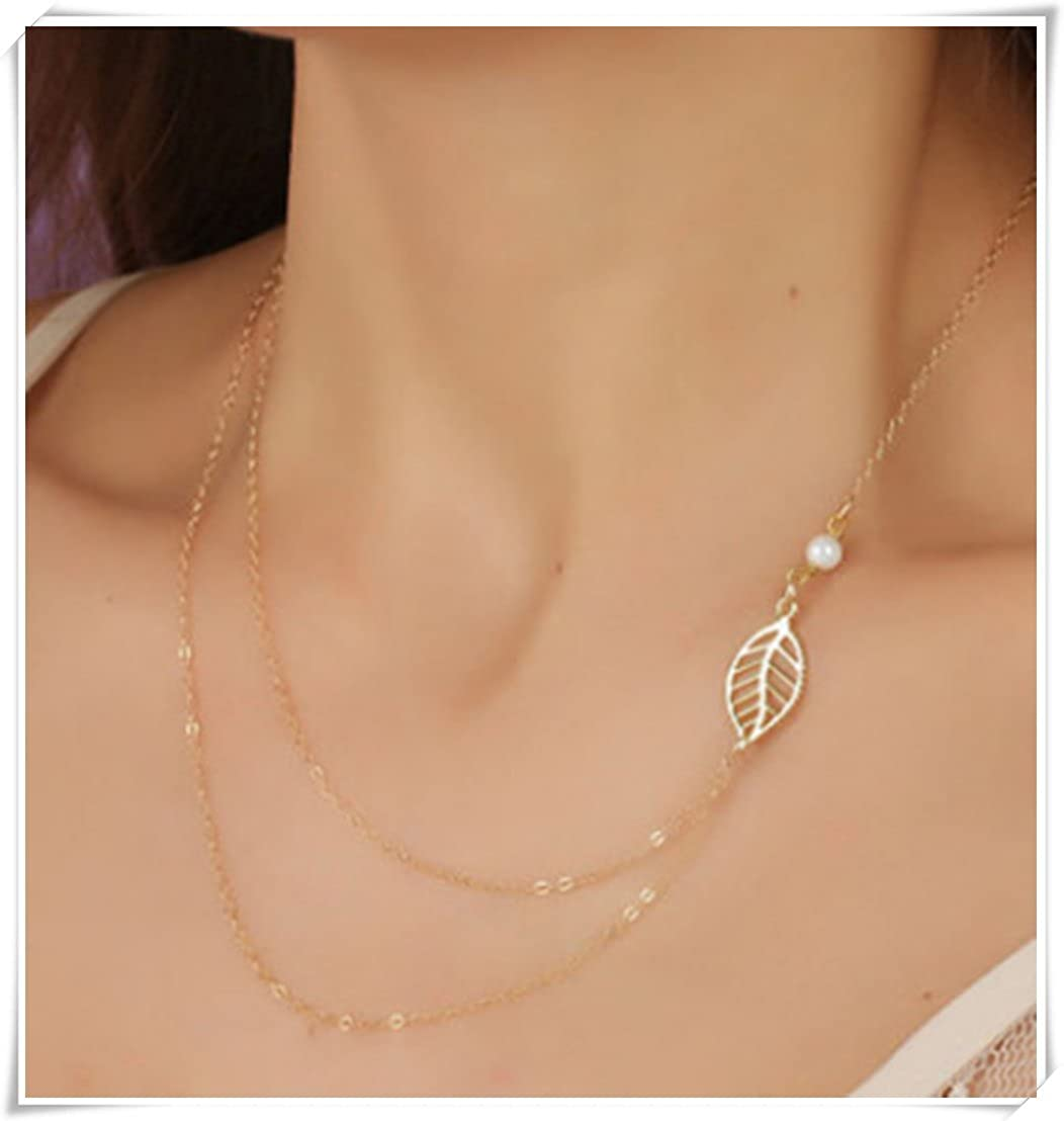 Sweet pearl metal leaf double layer chain necklace AW23