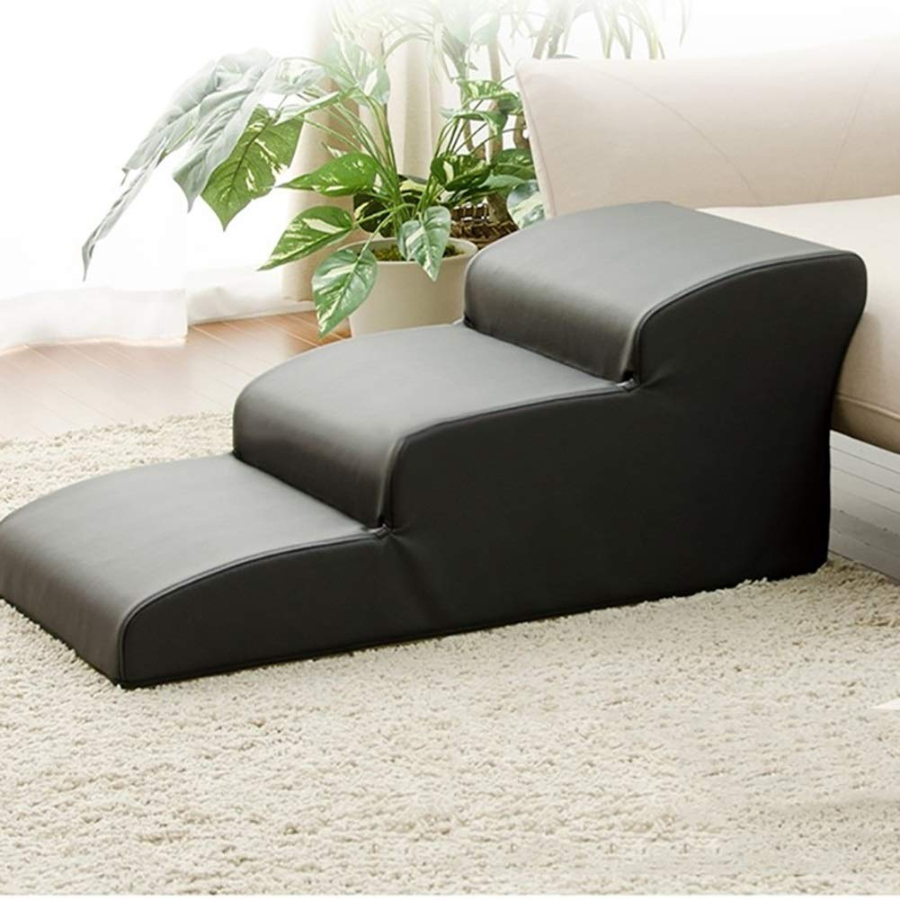 4 steps 50cm C_-1X Pet Dog Stairs pet Steps, Dog cat arc Steps, Old Dog Upper and Lower Level Cushions and Leather Non-Slip Stairs (Black,) (color   4 Steps 50cm)